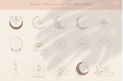 Logo Elements Vector illustrations. Social Media, Branding Kit.
