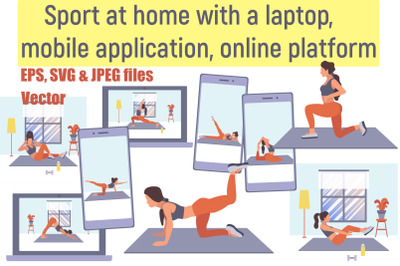 Flat illustrations with woman sport