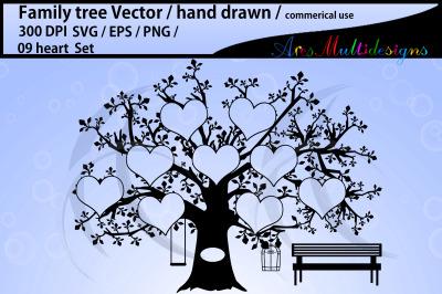 9 spots family tree template