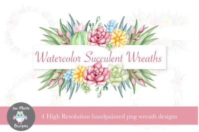 Succulent Wreath set, watercolor clipart