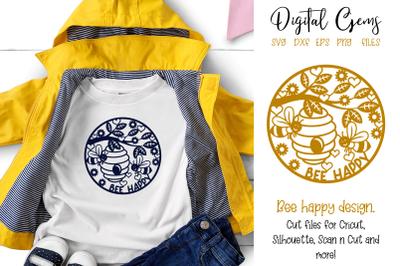 Bee happy, paper cut design