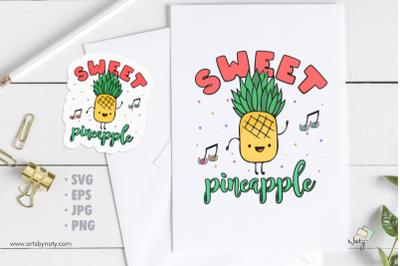 Sweet pineapple SVG Illustration.