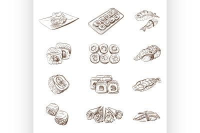Hand drawn set with sushi rolls sashimi