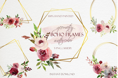 Watercolor Boho Burgundy Floral Geometric Frames Clipart.