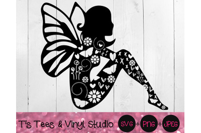 Knock Out Fairy SVG, Butterflies PNG, Hearts JPEG, Flower, Swirls