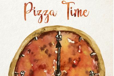 Watercolor Pizza Time Clip Art Set