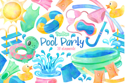 Pool Party Watercolor Cliparts