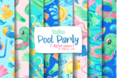 Pool Party Digital Papers