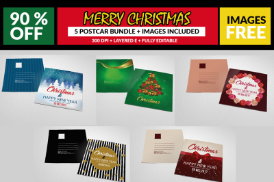 5 Christmas Postcard Templates