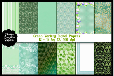 Green Variety Digital Paper Pack
