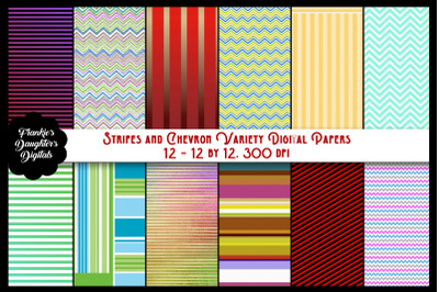 Stripes and Chevron Variety Digital Papers