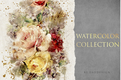 Abstract Rose Watercolor Collection