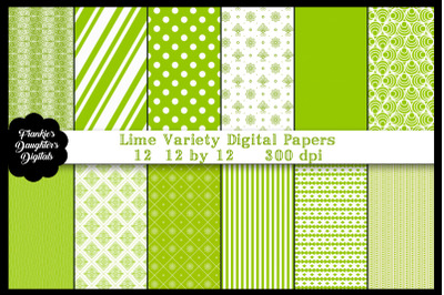 Lime Green Variety Digital Papers