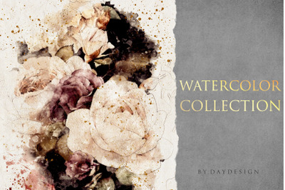 Abstract Flowers Watercolor Collection