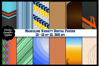 Masculine Variety Digital Papers, Father's Day, Birthday