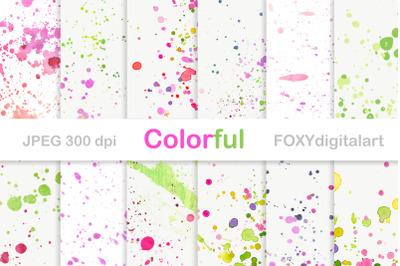 Watercolor paper paint splatter brush strokes ink
