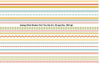 Sewing Stitch Border Clip Art PART TWO