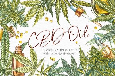 CBD Oil. Hemp illustration