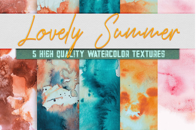 5 Lovely Summer Pack Watercolor Textures, Digital Paper