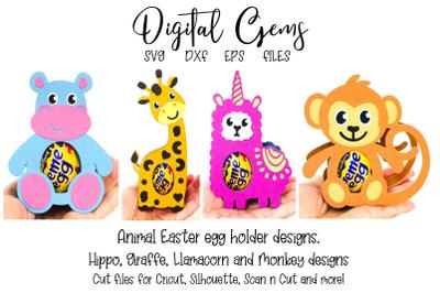 Egg holder designs. Monkey, Giraffe, Llamacorn and Hippo