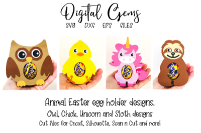 Owl, Chick, Unicorn and Sloth egg holder designs.