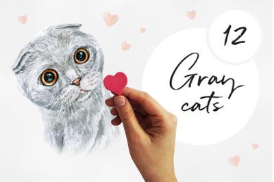 Grey cats. Watercolor setcat illustrations. Cute 12 cats.