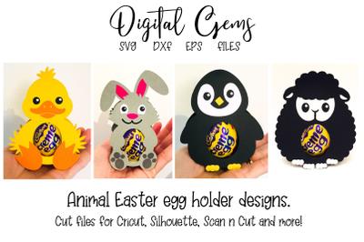 Rabbit, Lamb, Penguin and Duck egg holder designs.