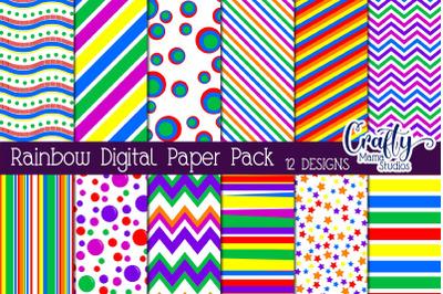 Rainbow Digital Paper, Bright Color Scrapbook Paper