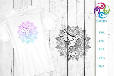 Mandala with Bird SVG Cut File