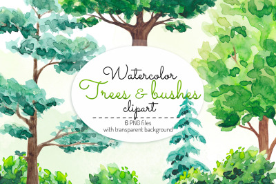 Watercolor trees clipart Trees and bushes Oak Pine tree Tree graphics