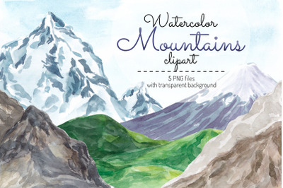Watercolor Mountains clipart Hills clip art Mountains graphics