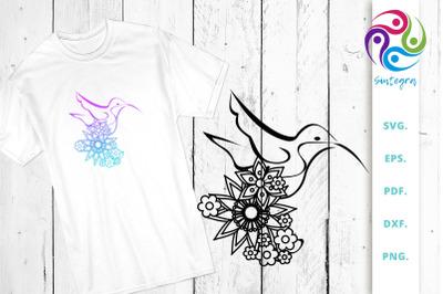 Floral Linear Art Bird SVG Cut File