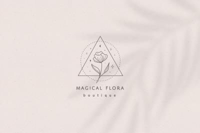 Pre-made Logo Template & Packaging Patterns. Perfume Logo.