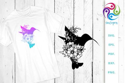 Floral Bird Silhouette SVG Cut File