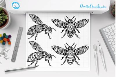Bee Mandala SVG, Mandala Bee SVG Cut Files, Bee Mandala Clipart.