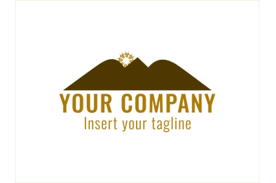 Logo Gold Vector Mountain Icon