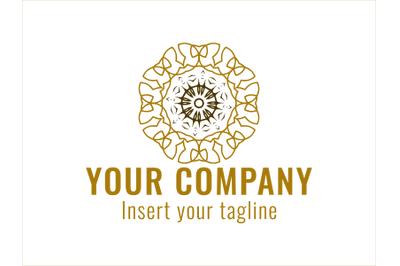 Logo Gold Radiating Patterned Ornaments