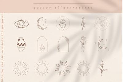 Logo Elements, Frames, Sunbursts. Decorative Icons. Crescent & Stars.
