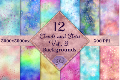 Clouds and Stars Vol. 2 Backgrounds - 12 Image Textures Set