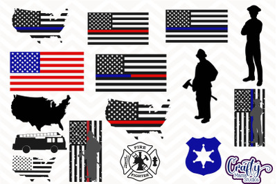 Police Officer SVG, Firefighter Bundle, First Responder Svg