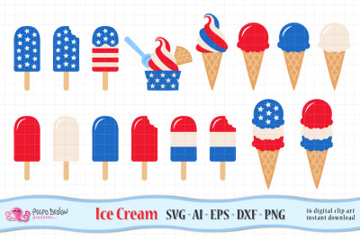 4th of July Ice Cream SVG, Eps, Dxf, Ai and Png