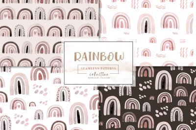 Watercolor Rainbow pattern collection