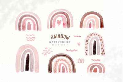 Watercolor Neutral Beige and Rose rainbow clipart