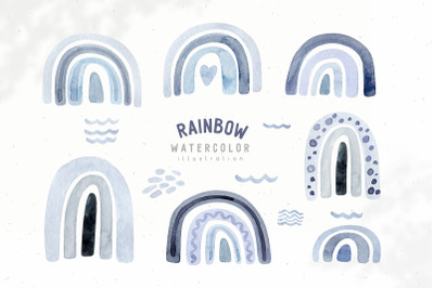 Watercolor Neutral Blue and Grey rainbow clipart