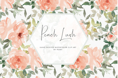 Watercolor Blush Floral Clipart Set