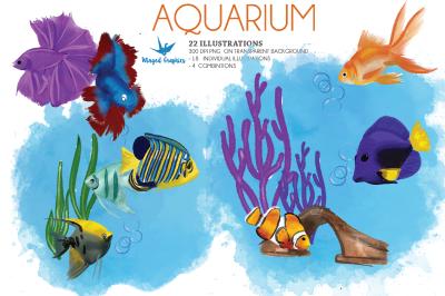 Aquarium : watercolor illustrations set of 22