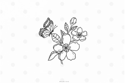 Flowers with butterfly svg cut file