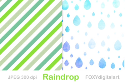 Rain shower pattern Rain drops digital paper rainy day