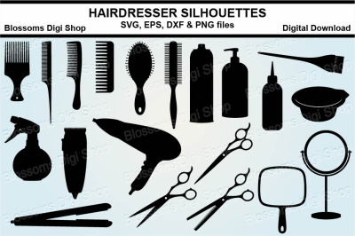 Hairdresser Silhouette bundle SVG, EPS, DXF and PNG cut files