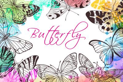 Set of Hand Drawn Butterflies